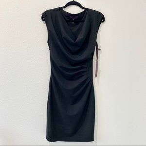 Women's black sleeveless gathered dress